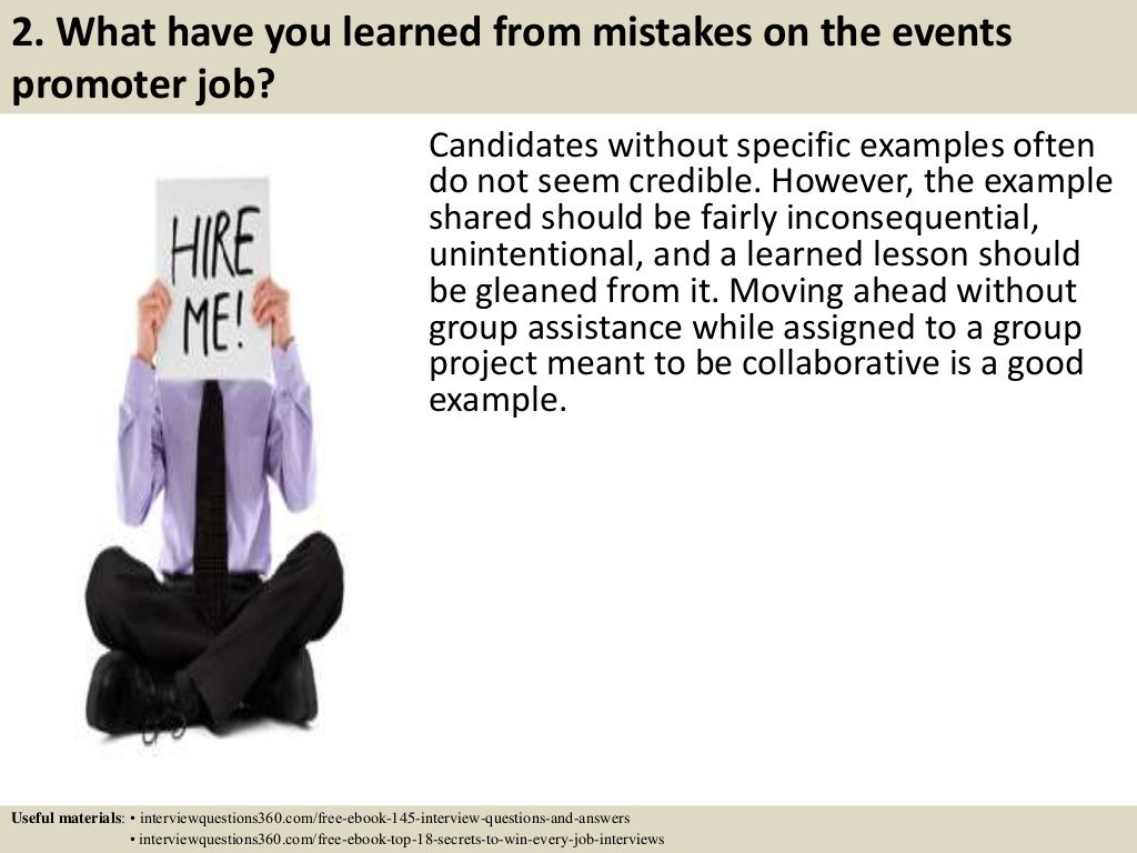 2. What have you learned from mistakes on the events