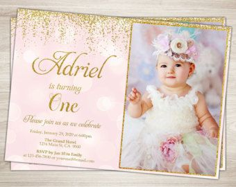 pink and gold glitter first birthday invitation for girl blush