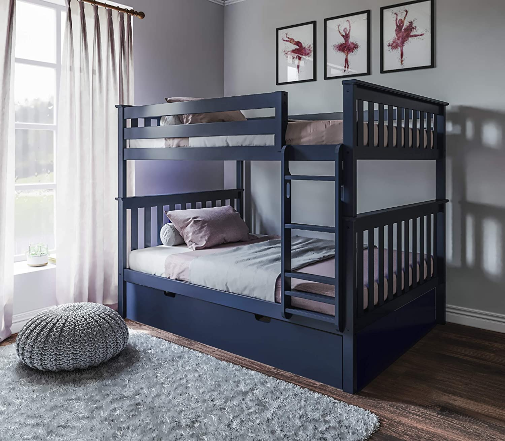 Amazon Com Max Lily Solid Wood Twin Over Twin Bunk Bed With Trundle Bed Natural Kitchen Dining Trundle Bed Boys Bedroom Bunk Beds Bunk Beds Twin bunk bed with trundle