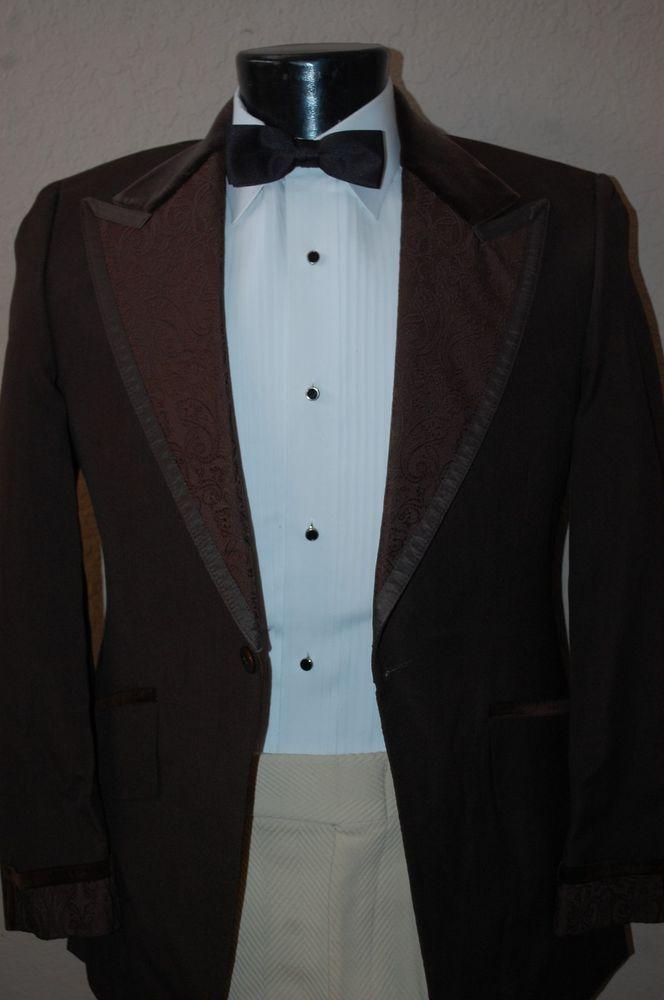 42 R Brown Vintage Tuxedo Jacket Velvet satin trim Wedding Prom tux ...