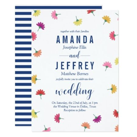 Scattered Flowers Navy Blue Wedding Card - click to get yours right - invitation unveiling