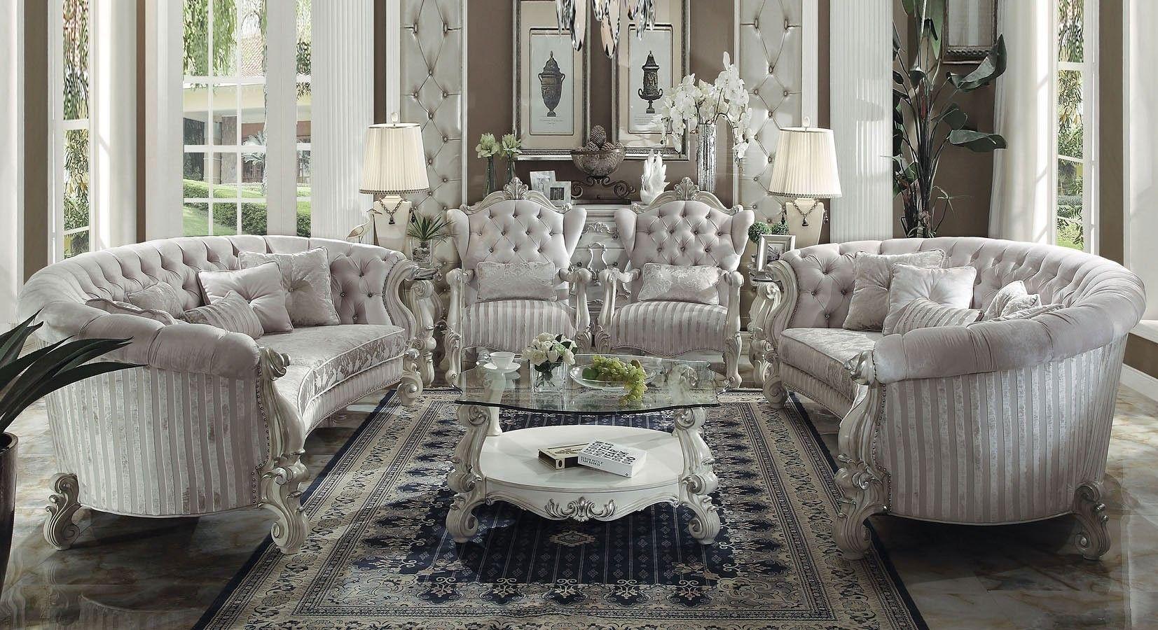 Versailles Crescent Living Room Set Ivory Velvet White Living