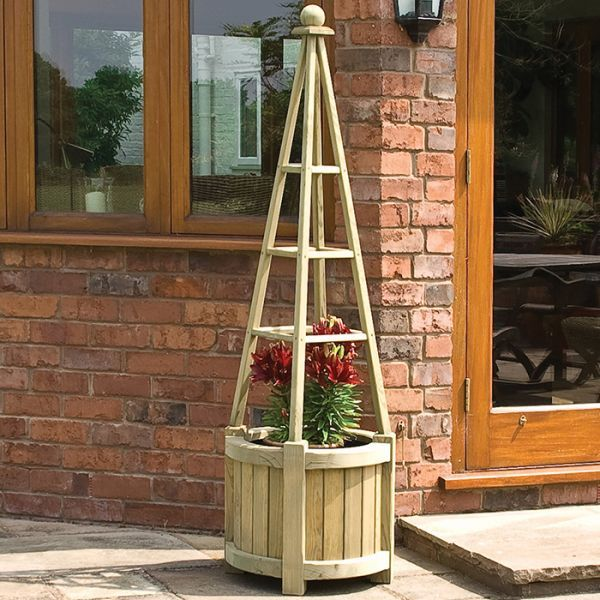 This Robust Marberry Obelisk Planter From Rowlinson Is Great For Growing Climbing Plants With Its Integrated Wooden