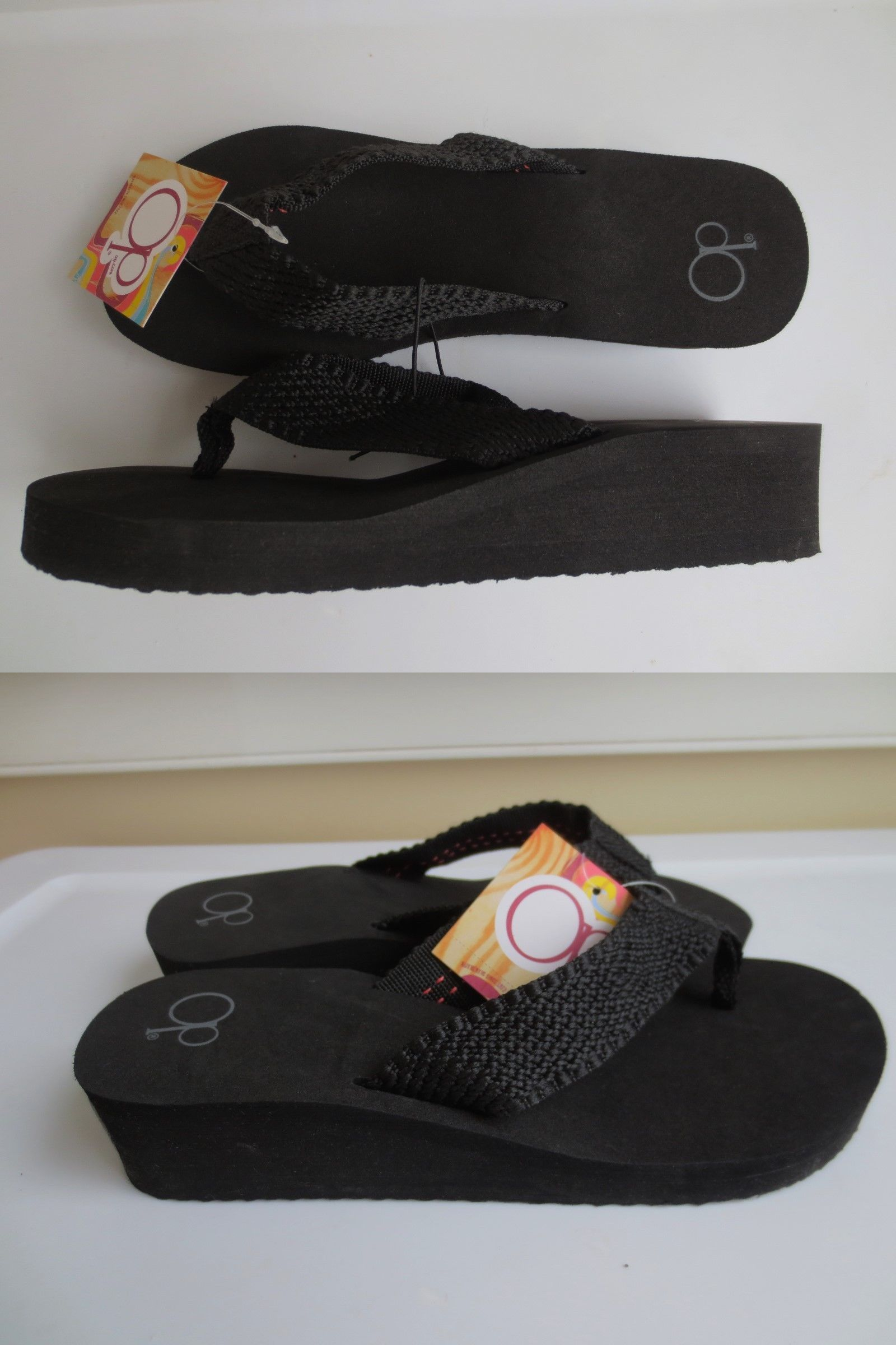 506795414e4 Sandals 62107  New Women  Large 9-10  Or  Xl 11-12  Op Yoga Mat Black Wedge Flip  Flops Sandals -  BUY IT NOW ONLY   14.99 on  eBay  sandals  women  black ...