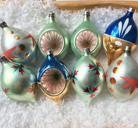Vintage Glass Christmas Ornaments 8 Indent Tear Drop Hand Painted