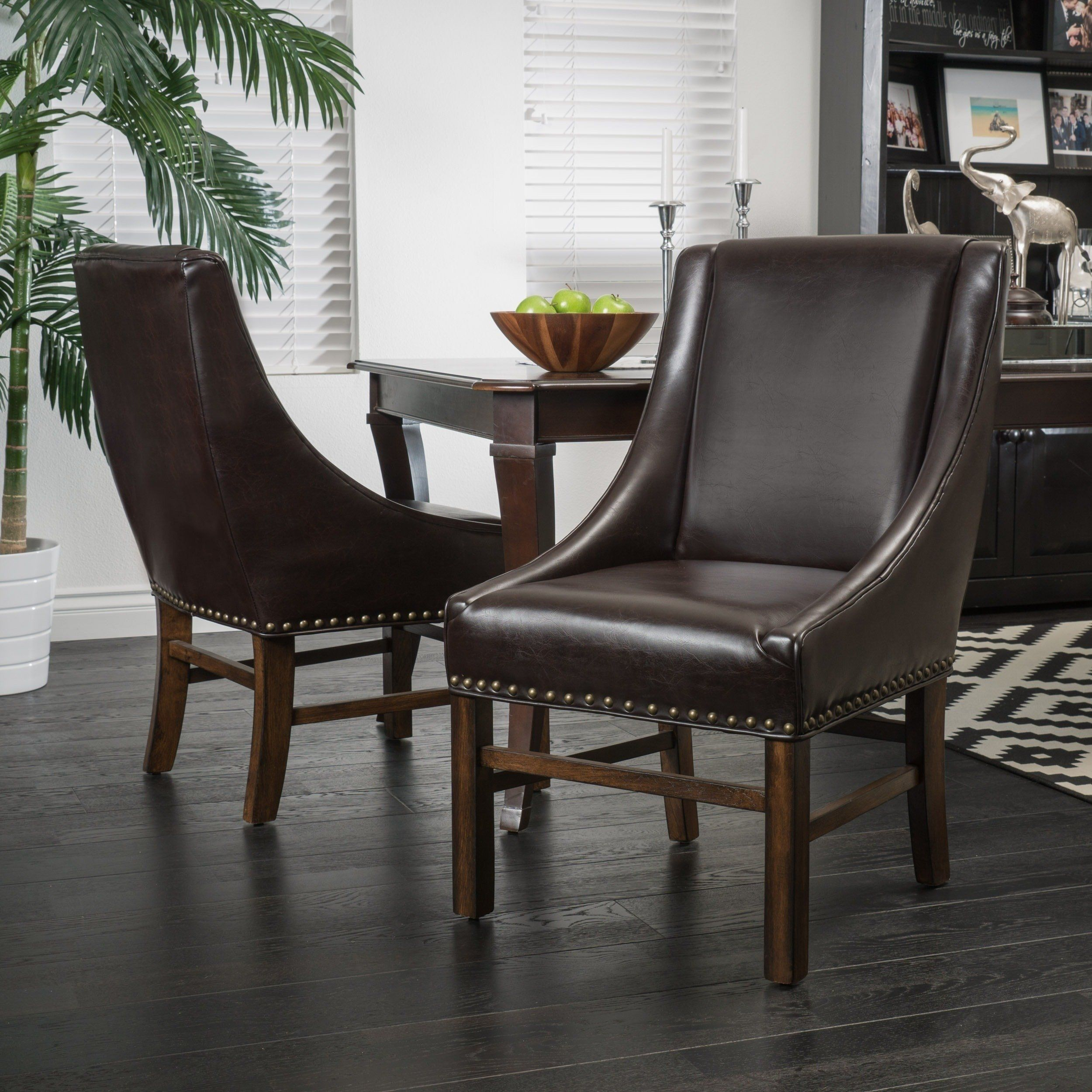 James Bonded Leather Dining Chair Set Of 2 By Christopher Knight Home Brown