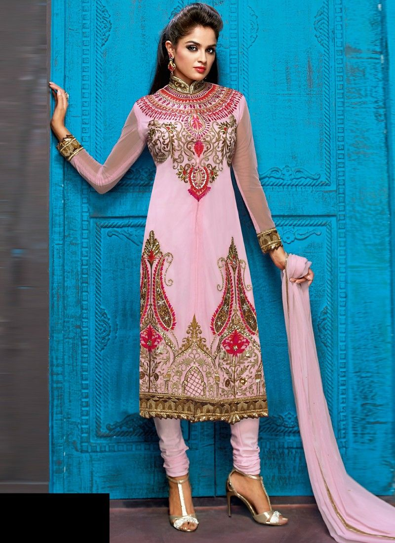 Pinkish Pink Designer Party Wear Churidar Salwar Suit | Ideas ...