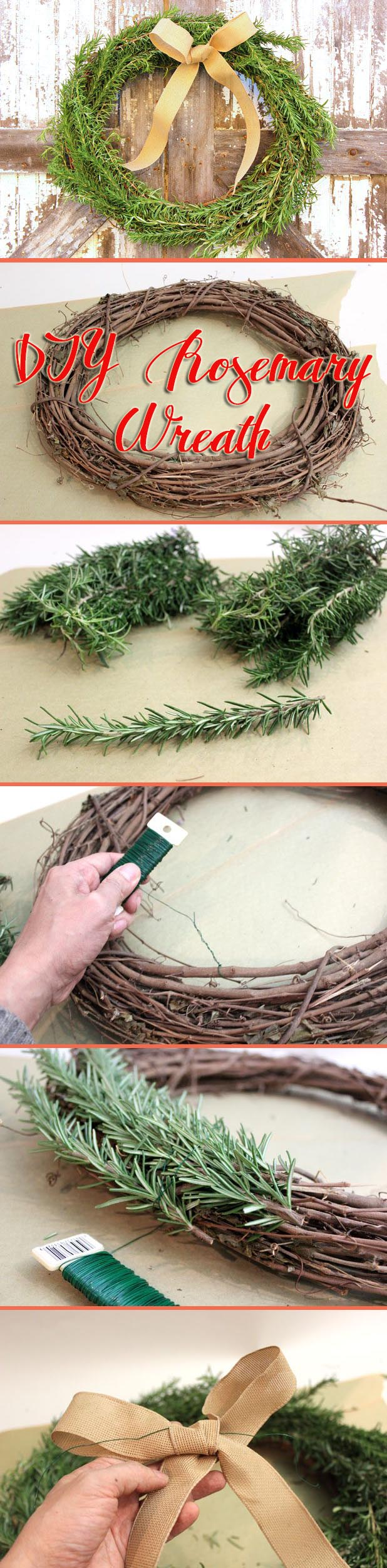 A DIY wreath that is as beautiful as it is fragrant! Fresh rosemary can fill your home with this stylish and easy to make wreath. How to instructions here: http://www.ehow.com/how_7699585_make-wreath-rosemary.html?utm_source=pinterest.com&utm_medium=referral&utm_content=inline&utm_campaign=fanpage