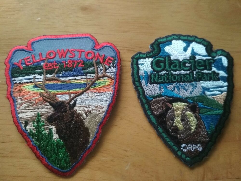 F/S 2 Patches The Yellowstone Park Elk & The Glacier