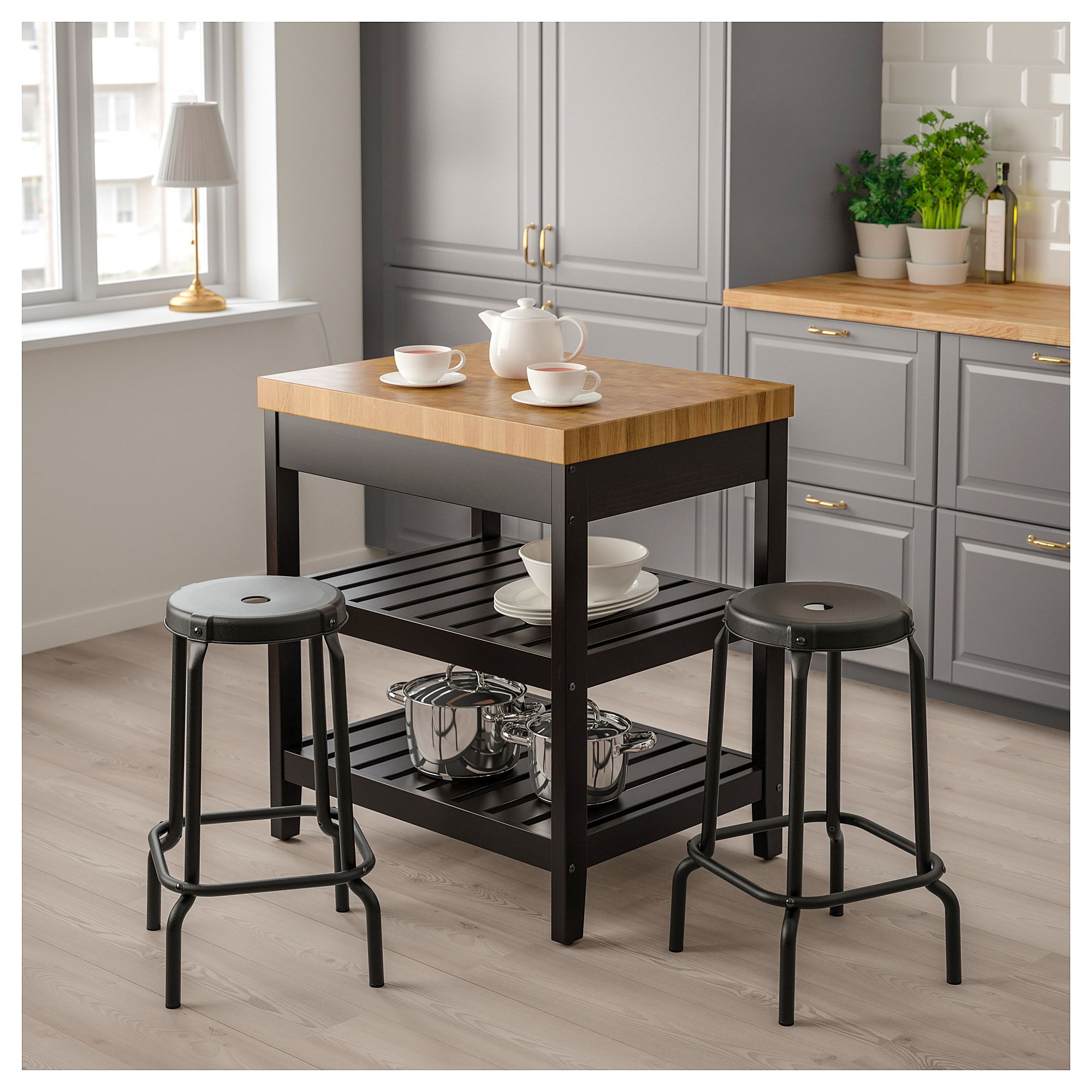 VADHOLMA Kitchen Island, Black, Oak In 2019