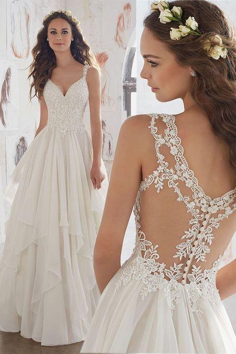 Strand V-Ausschnitt Eine Linie Spitze Applique Chiffon Side Split Brautkleider