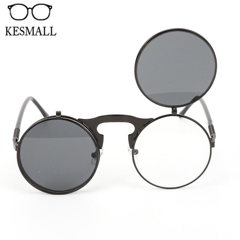 a3fb80bce31 KESMALL Flip Up Steampunk Sunglasses Men Round Vintage Mens Sun Glasses  Brand Designer Women Fashion Eyeglasses UV400 YJ1146