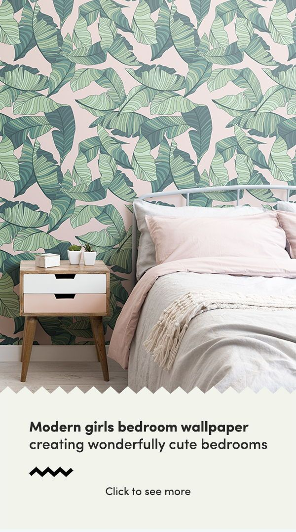 Pink And Green Tropical Leaf Wallpaper Wallpaper Bedroom Feature Wall Feature Wall Bedroom Feature Wall Wallpaper