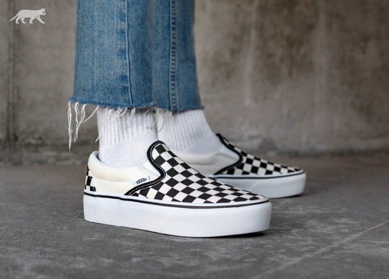 vans checkerboard slip on dames