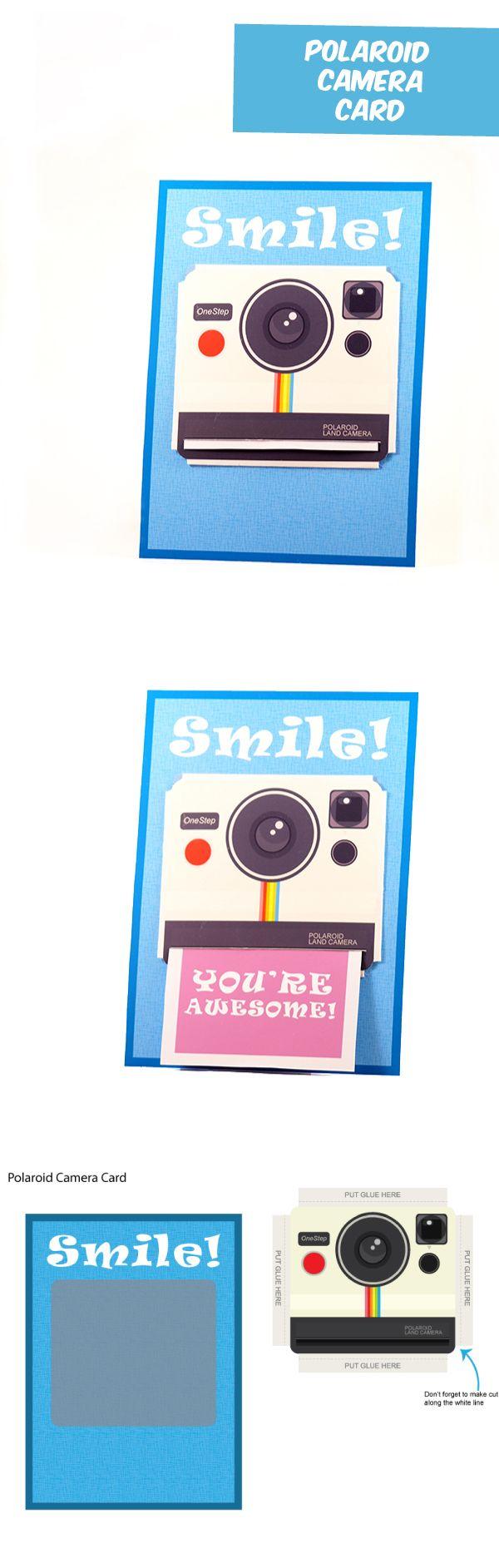 Diy papercraft polaroid camera themed gift card - Polaroid karten ...