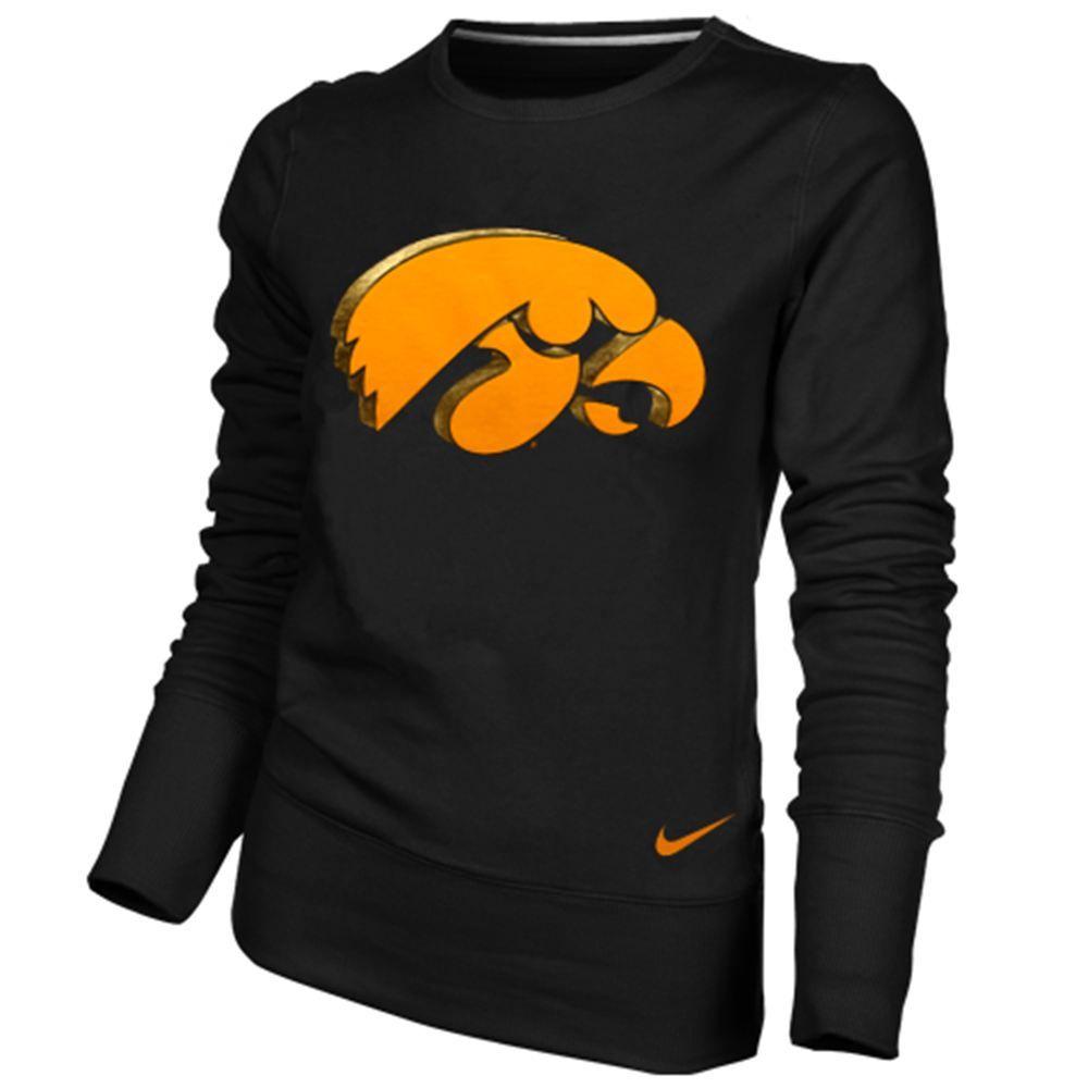 Nike Iowa Hawkeyes Ladies Black Excel Pullover Crew Sweatshirt Iowa Hawkeyes Crew Sweatshirts Iowa Hawkeye Football [ 1000 x 1000 Pixel ]