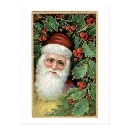 Old-fashioned Christmas, Santa, Holly Postcard