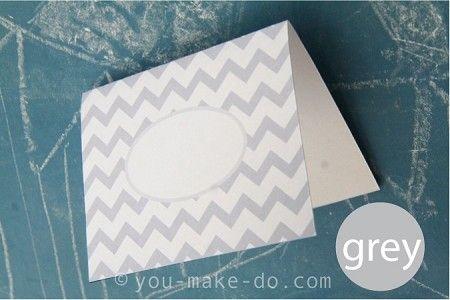 customizable grey chevron place card printables