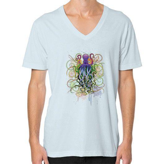 Octopus Psychedelic Luminescence V-Neck (on man)