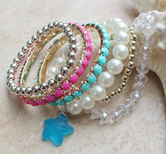 Beaded Bracelets Loads of Summer Colors Stretch by InaraJewels