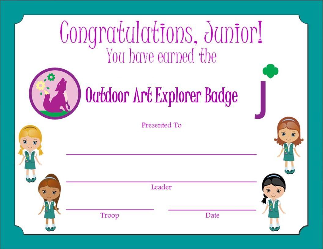 Junior Outdoor Art Explorer Badge Certificate | Junior Girl Scouts ...