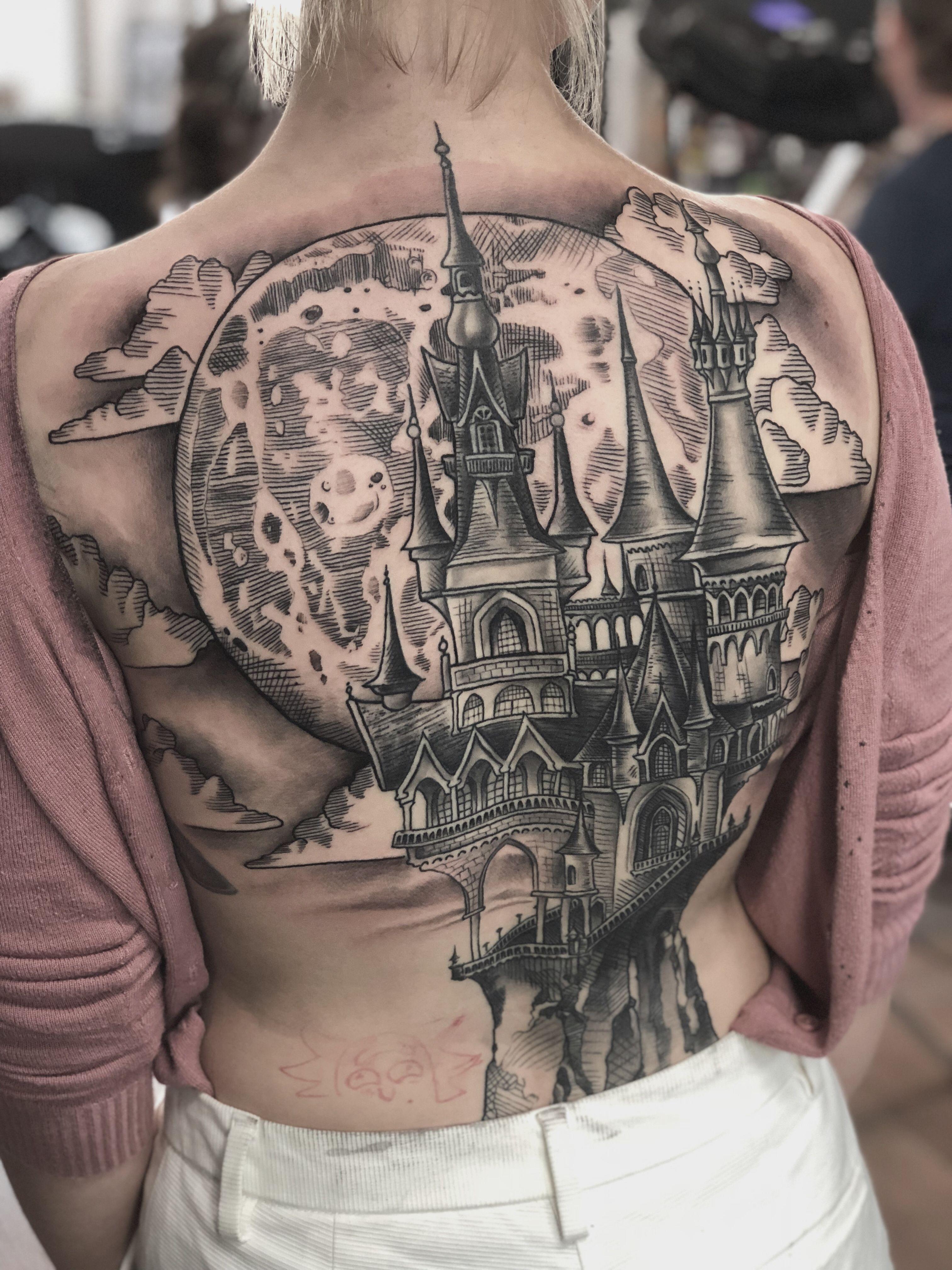 Tattoo ideas back piece castle line art blackwork backpiece by royal ink nick limpens