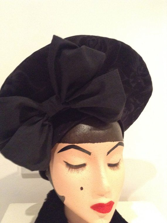 0f86f1b8c38 1940 s Replica Black Halo Hat by DistressedDamsels on Etsy