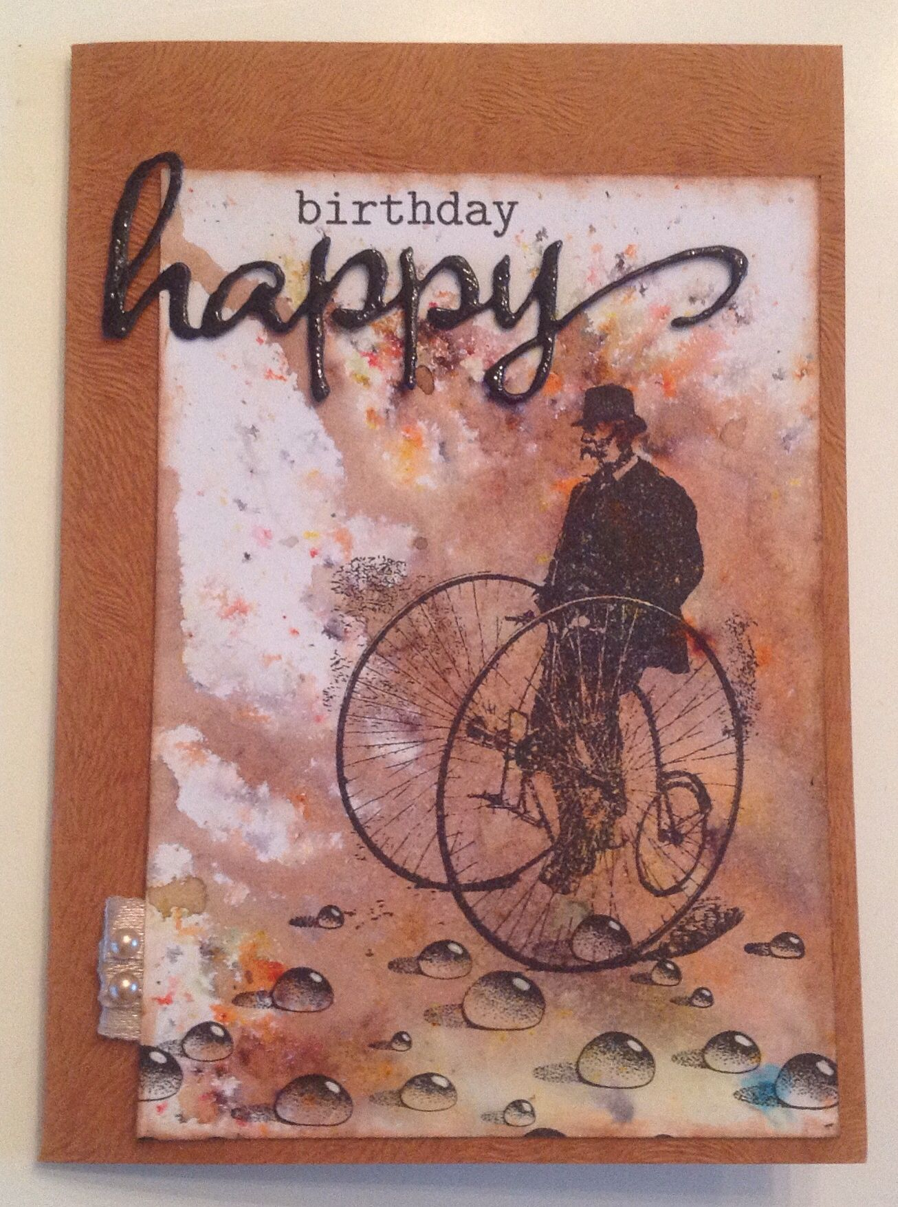 Birthday card with Brusho background for the 88th birthday of my
