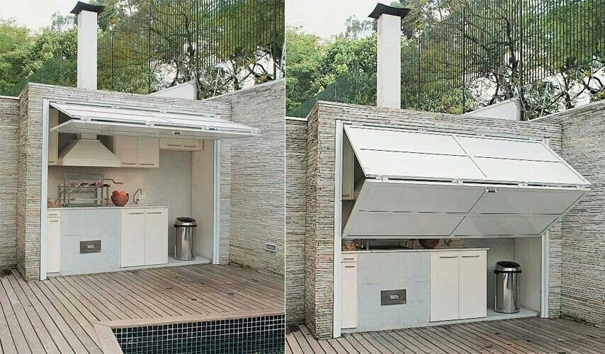 Folding Garage Door Outdoor Kitchen Diy Outdoor Kitchen Outdoor Kitchen Design Outdoor Kitchen Countertops