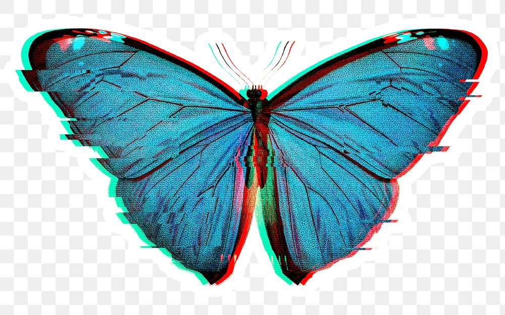 Blue Butterfly With Glitch Effect Sticker Overlay Free Image By Rawpixel Com Donlaya Blue Butterfly Glitch Effect Butterfly