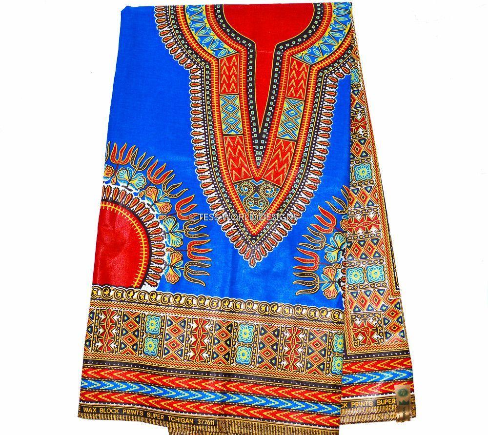 AUTHENTIC Royal Blue Dashiki Rose Red Dashiki Dark Red Dashiki Fabric Blue Ethnic Fabric African Print Fabric 3 panel 6 Yards Ships FAST