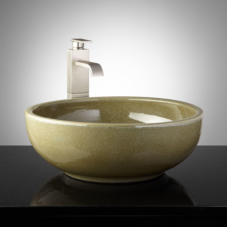 Daltrey Hand-Glazed Pottery Vessel Sink - Toasted Sage