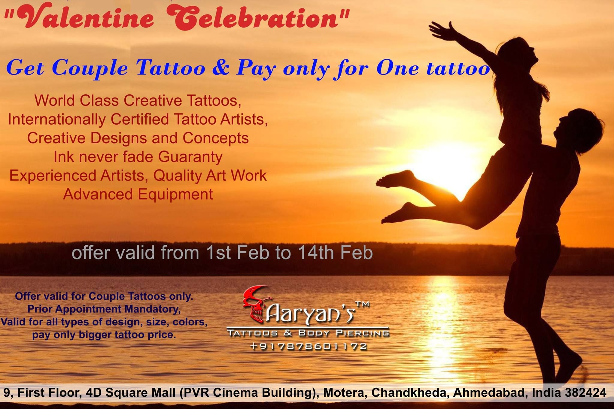 Time To Decorate Your Love Amazing Offer At Aaryans2 Limited Slots Available Book Your Appointment For Fr Creative Tattoos Free Tattoo Couple Tattoos
