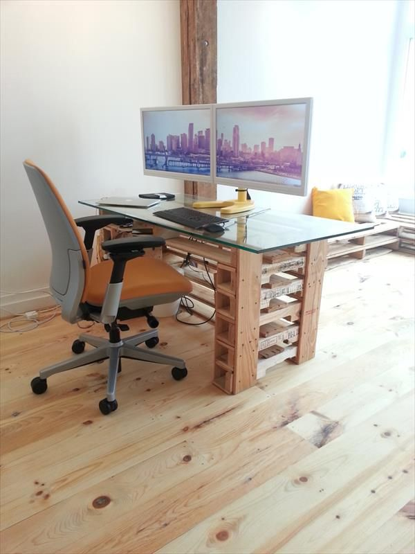 Office Pallet Desk With Glass Top Escritorio Palet Palet