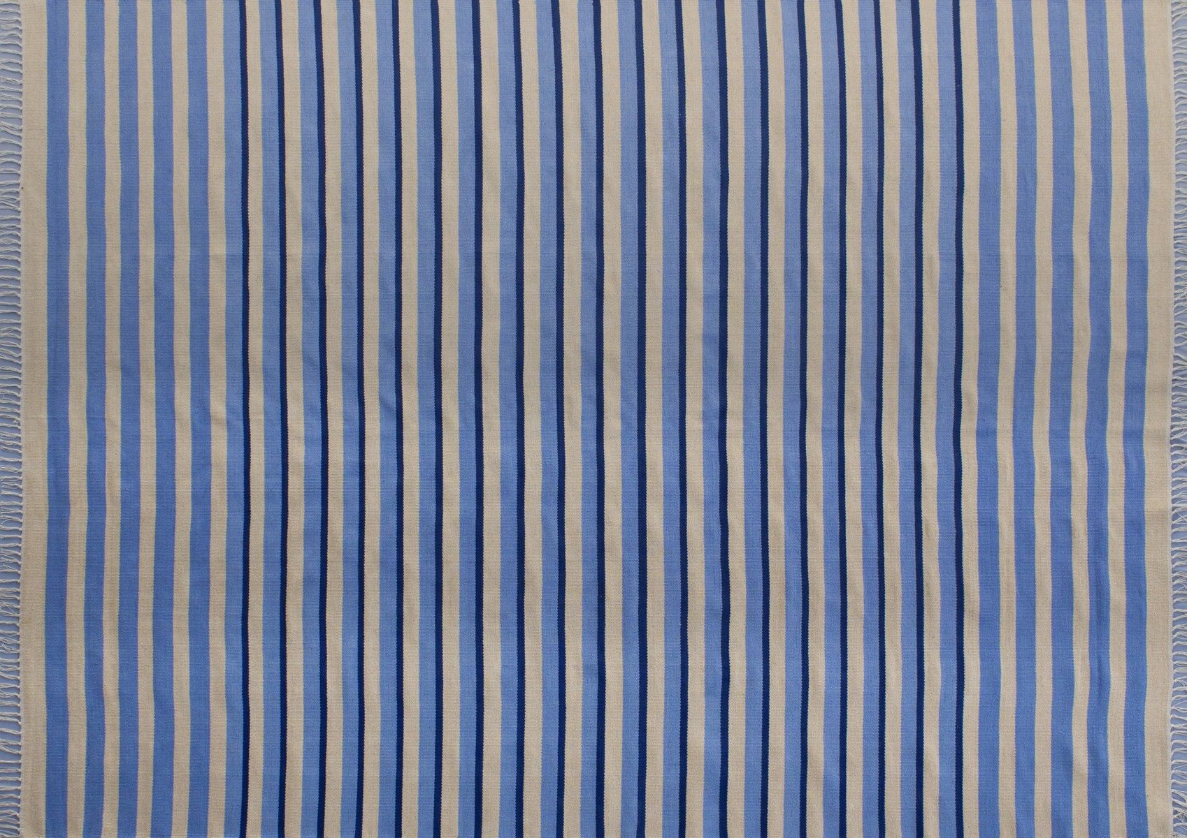 100% cotton handwoven dhurrie - striped design perfect for summer house or modern decor.