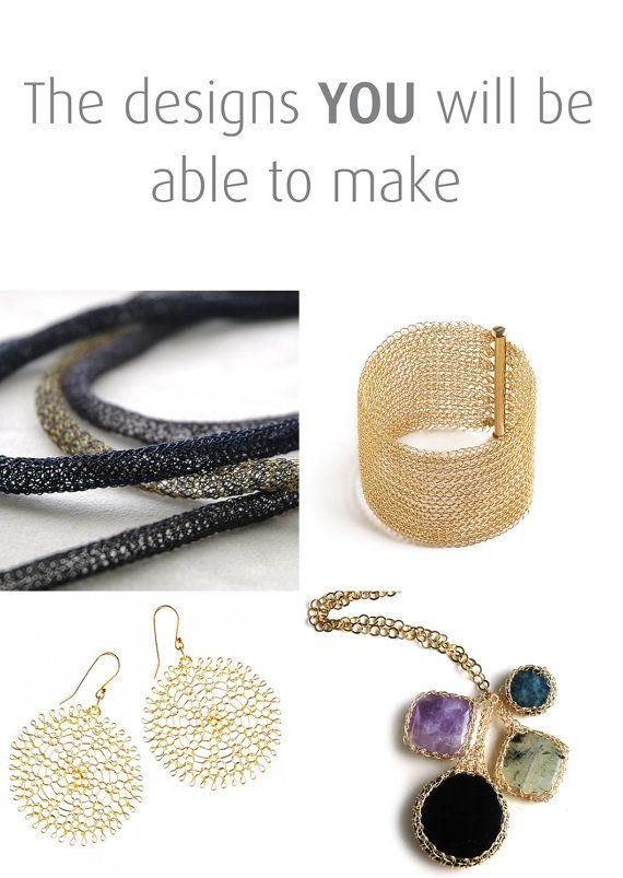 DIY jewelry kit - Beginners wire crochet kit - 4 VIDEO tutorial ...
