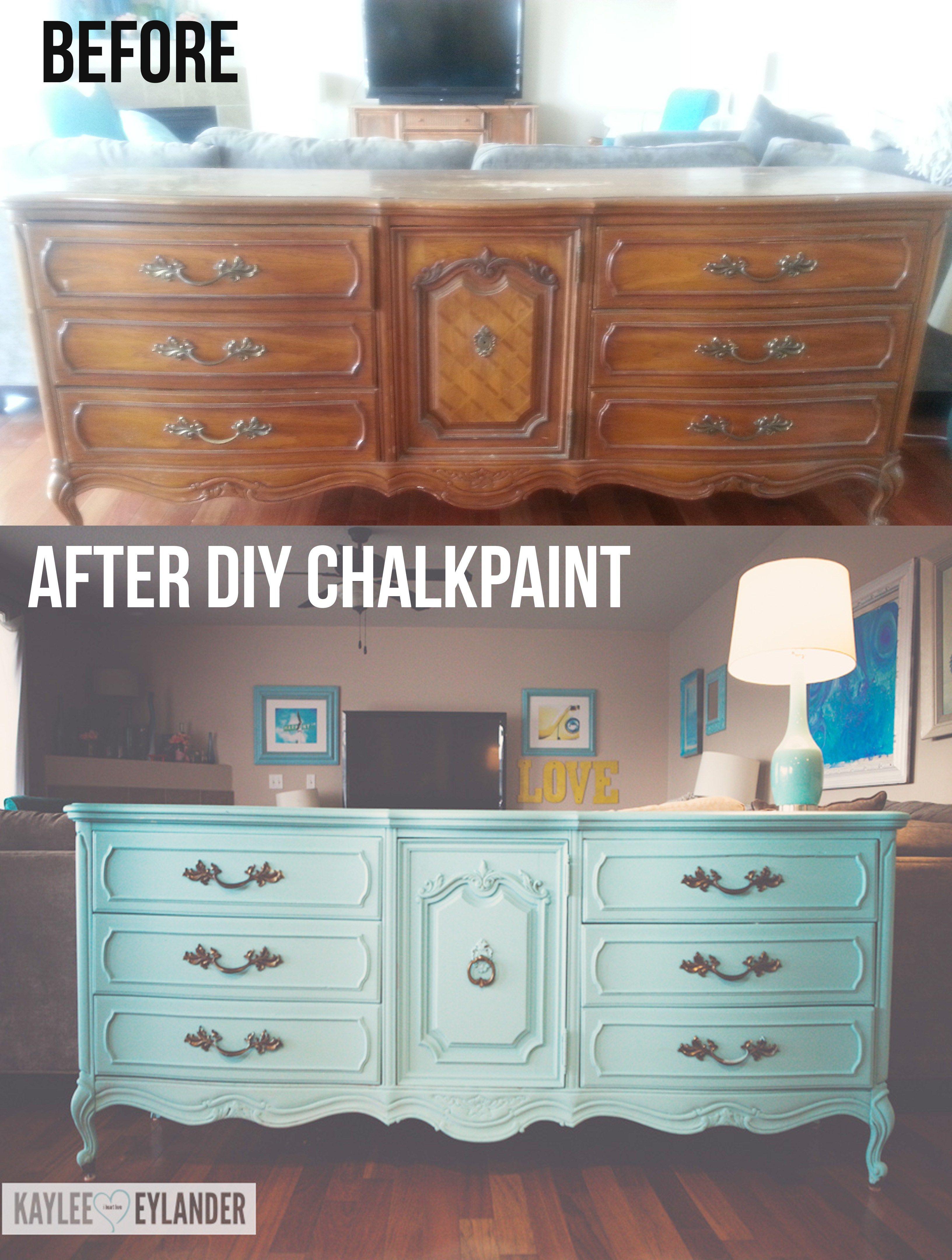 Diy Chalk Paint Recipe Thrift Store Dresser Makeover Lazy