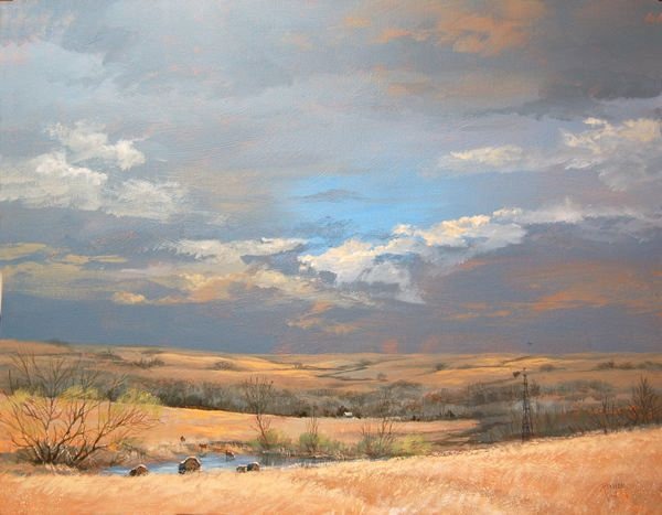 Every season on the prairie has its own palette; this painting captures the prairie in winter, or very early spring. If you know who the artist is, please tell me so I can post her/his name.