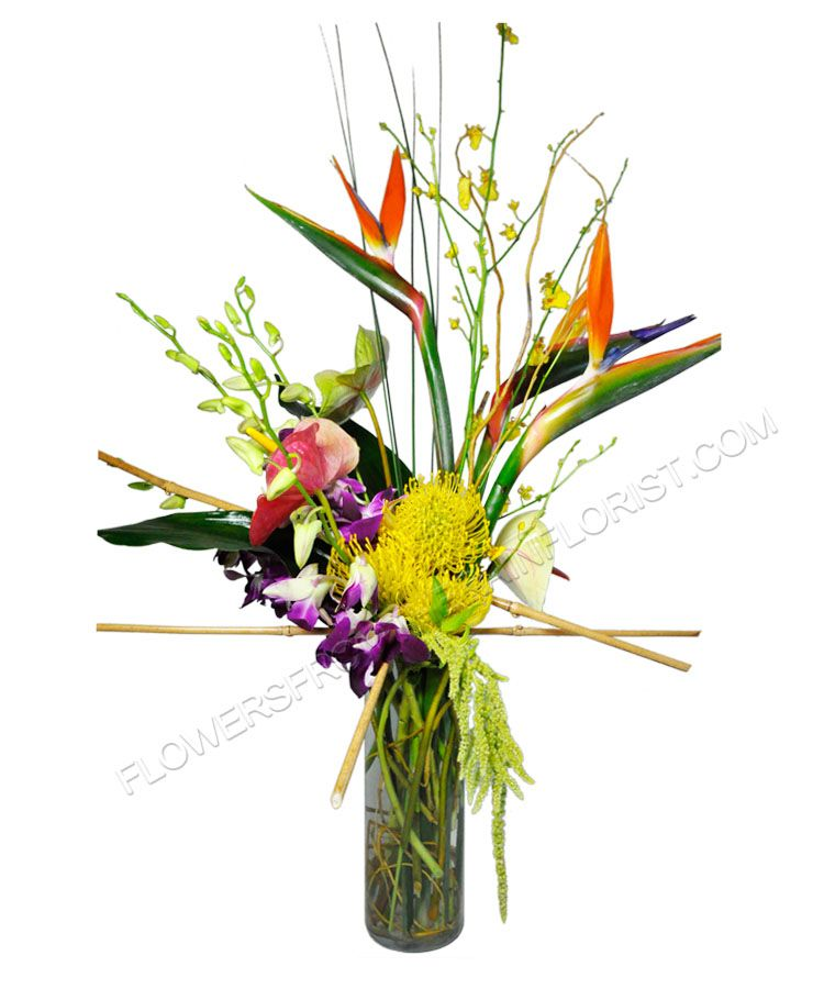 Sleek, tropical design made by one of our talented designers. Every piece we create is custom. Birds of paradise, orchids, and bamboo in a tall cylindrical vase! Made at Flowers From The Rainflorist