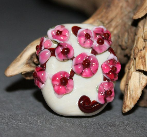Lampwork Glass Focal Cherry Blossoms by HoneyBearBeads on Etsy (Craft Supplies & Tools, Jewelry & Beading Supplies, Beads, lampwork, floral, flowers, jewelry, annealled sra, bhv team, focal, garden, house, mushroom, pink, white)