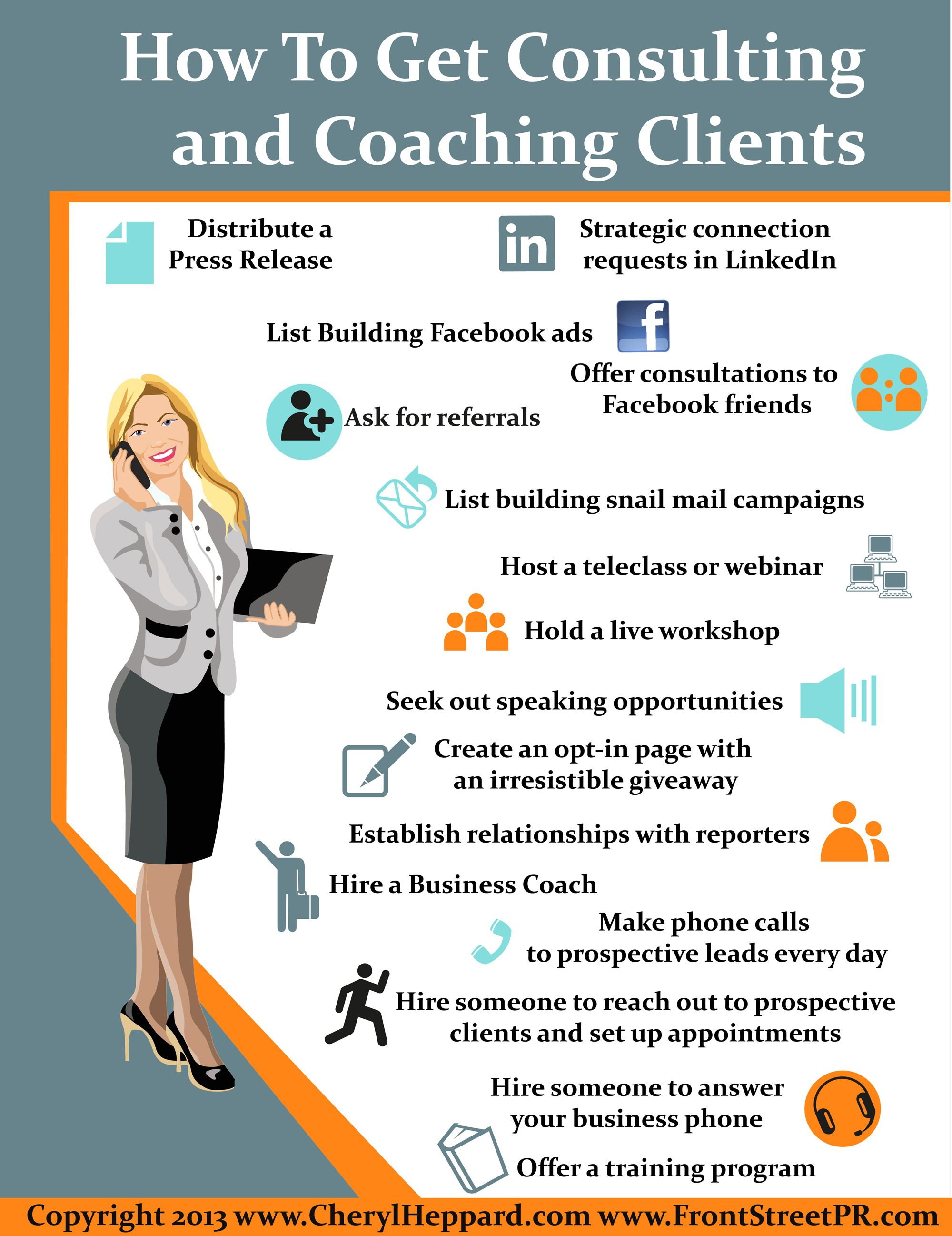 How To Get Clients Info Infographic By Cheryl Heppard