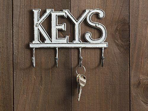 "Key Holder ""Keys"" – Wall Mounted Western Key Holder - 4 Key Hooks ..."