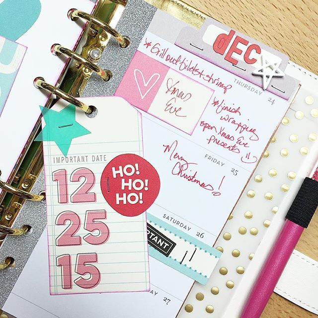 """Who's ready for Christmas??? Loving this """"Important Date"""" tag from the latest @ellesstudio kit  #ellesstudio #planner #plannerlove #planneraddict #plannercommunity #websterspages #colorcrushplanner #wpcolorcrush #pengems"""