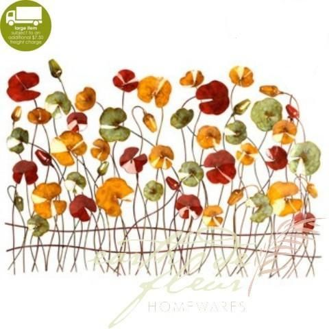 Spring poppies 3d patio outdoor metal wall art from earth homewares home decor