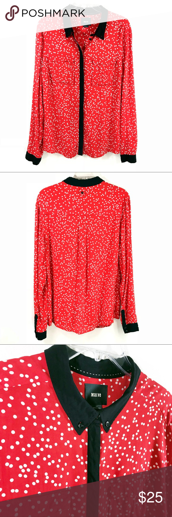 8b3da246ed268 Anthropologie MaEVe Red White Polka Dot Anthropologie MaEVe Red White Polka  Dot w  black trim button down blouse size 10 • EUC no flaws • secure  buttons ...