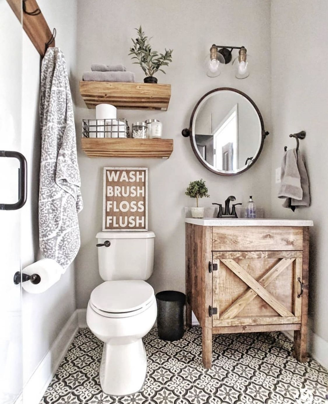 Farmhouse Style Half Bathroom Features Classic Vanity Lights Warm Wood Accents Earthy T Rustic Modern Bathroom Small Bathroom Decor Farmhouse Bathroom Decor