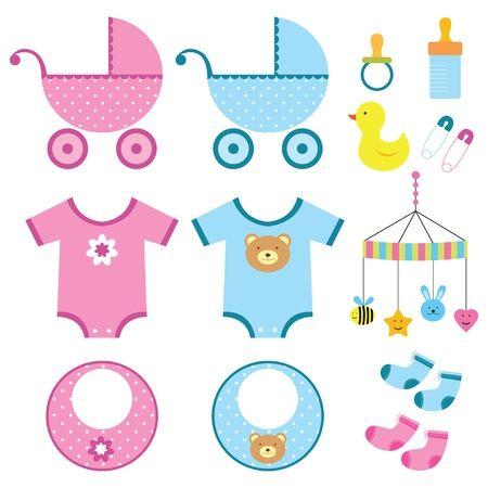 Baby boy and girl elements set Vector Illustration