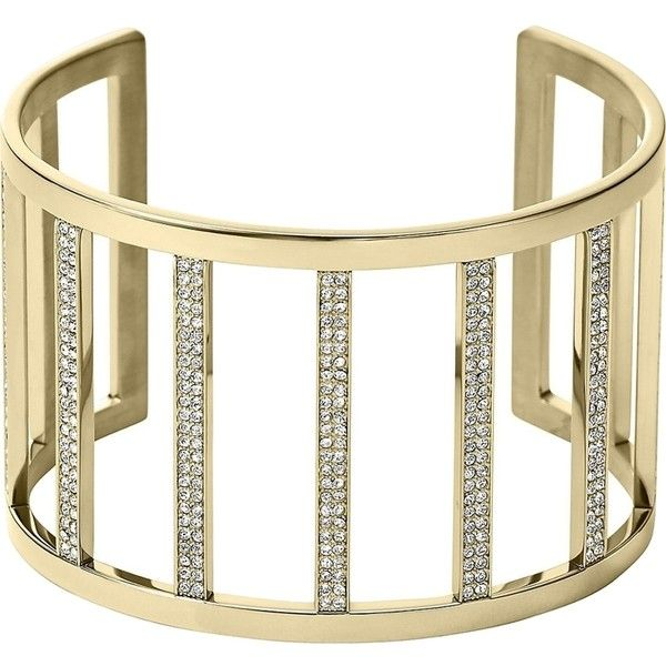 Pre-owned Michael Kors Gold Tone Clear Pave Wide Bar Open Cuff... ($80) ❤ liked on Polyvore