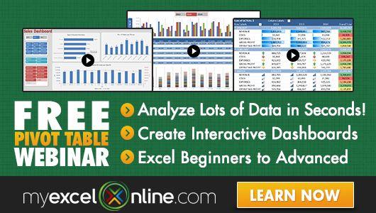 myExcelonline, Excel video courses online MS Excel Pinterest