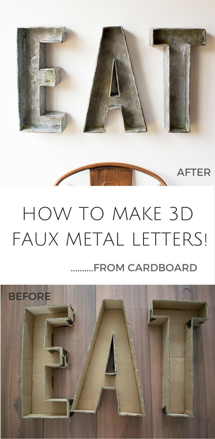Small Metal Letters For Crafts How To Make 3D Faux Metal Letters  From Cardboard  Diy General